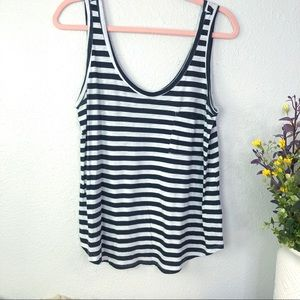 Gibson striped pocket tank top scoop neck